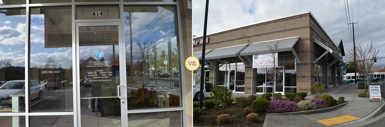 Side-by-side comparison of good and bad dental building photos