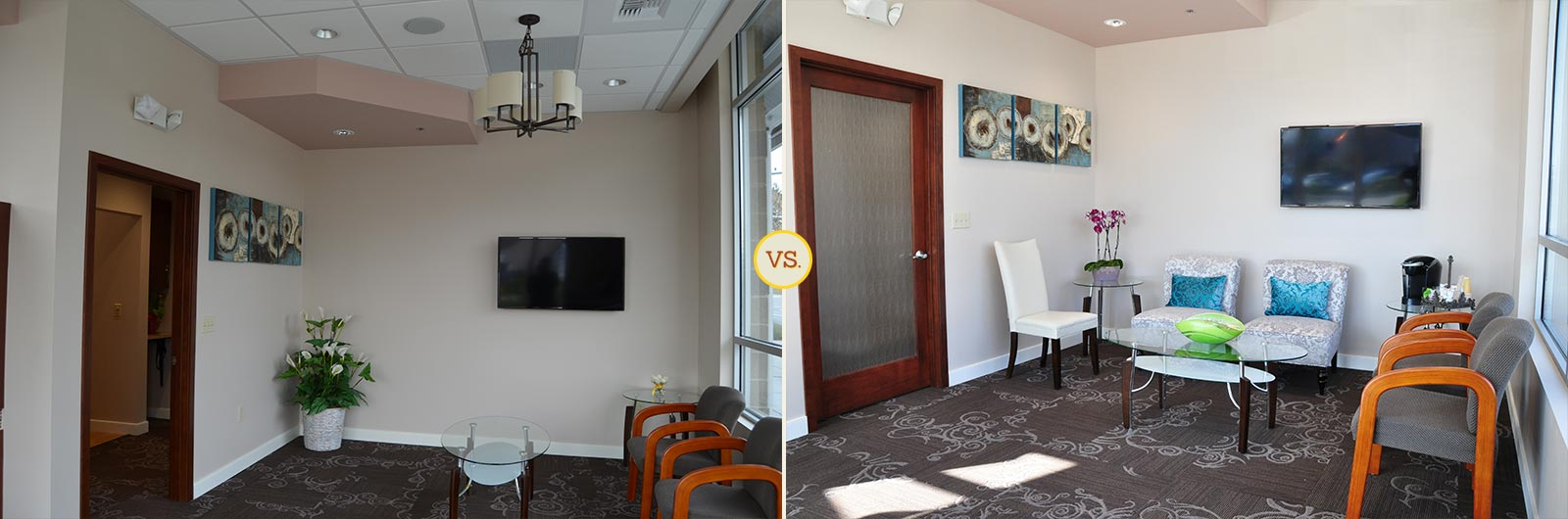 Side-by-side comparison of dental practice lobby photos