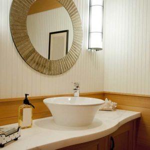 White bowl sink in bathroom