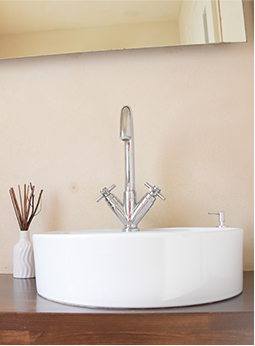 White bowl sink in bathroom