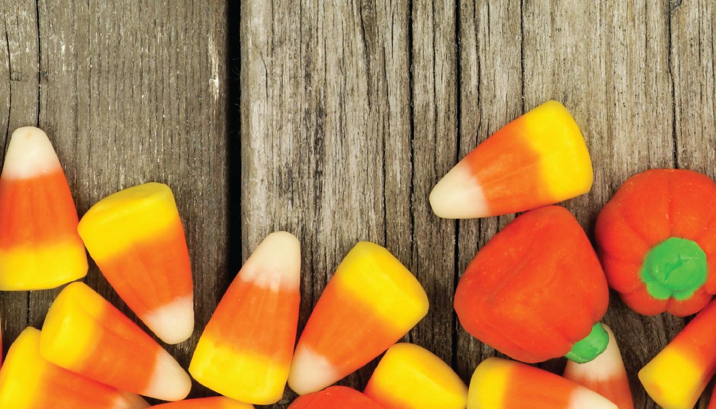 Wood slats and Halloween candy
