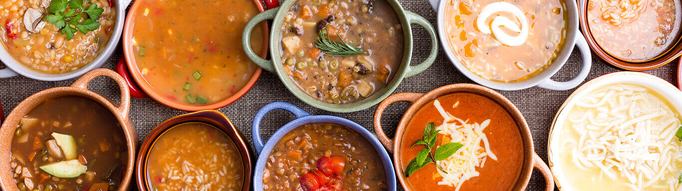 Row of soups