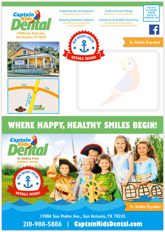 Ayala - Captain Kids Dental 4 Panel Postcard Front