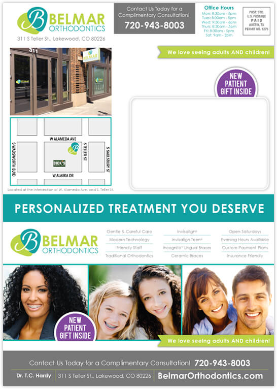 Hardy - Belmar Orthodontics 4 panel postcard front