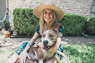 Zoë Zrubek with her dog, Bruce