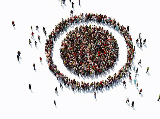 Crowd shaped as a target