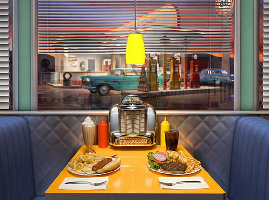 Table with food in a diner