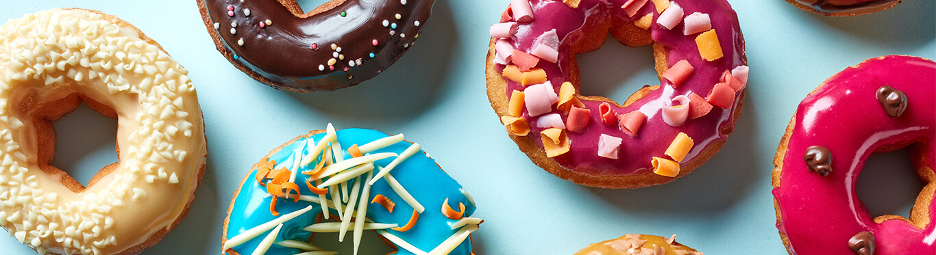 Colorful assorted donuts