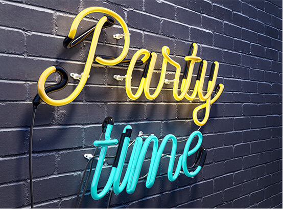 Party sign light up sign