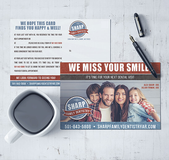 Mockup showing Sharp Family Dentistry's recall card design.