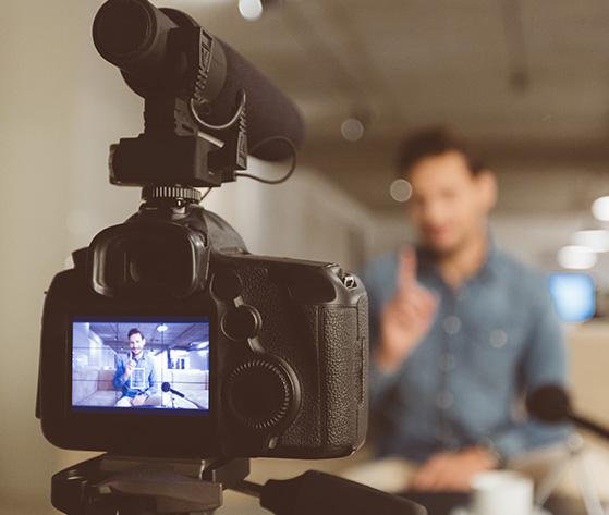 Camera facing a man