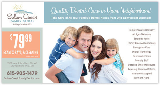 Costello - Salem Creek Family Dental postcard front