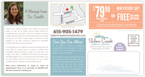 Costello - Salem Creek Family Dental postcard back